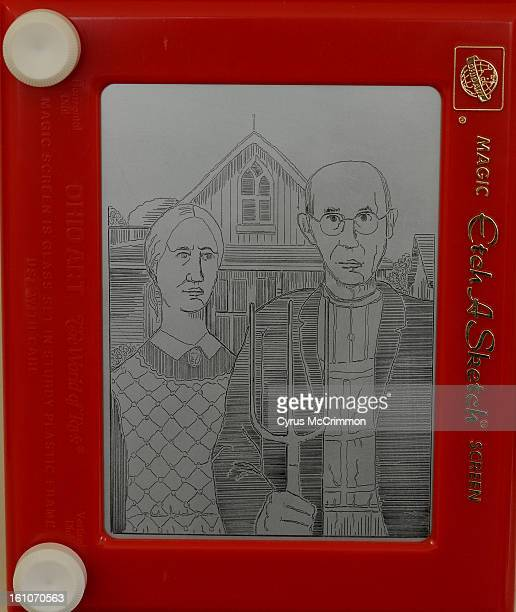 FE10CSCOVER_CM05 The 'American Gothic' by Lyons artist Jeff Gagliardi on his EtchASketch on Wednesday September 10 2008 Courtesy of the artist