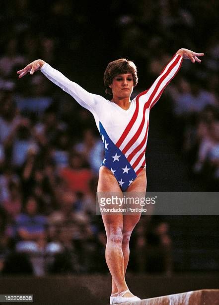 The American gymnast Mary Lou Retton taking part in a competition at Los Angeles Olympics Los Angeles 1984