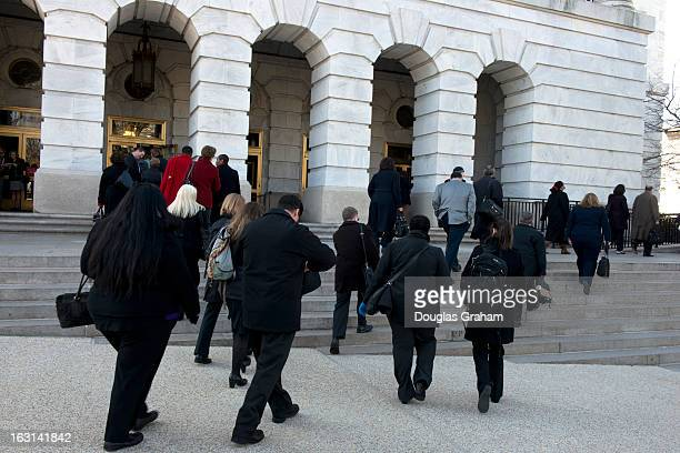 The American Israel Public Affairs Committee lobbyist line up outside of Longworth House Office Building in Washington DC on March 5 2013