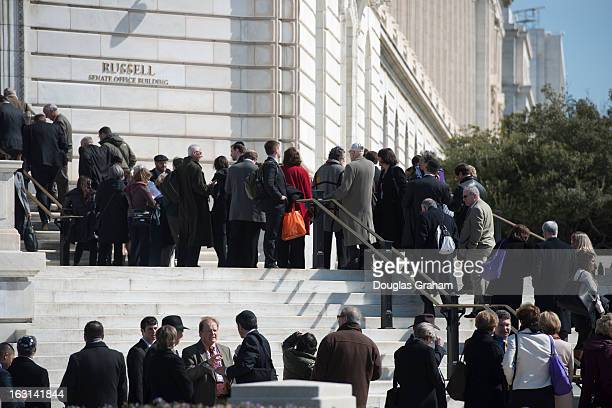 The American Israel Public Affairs Committee lobbyist line up outside of Russell Senate Office Building in Washington DC on March 5 2013