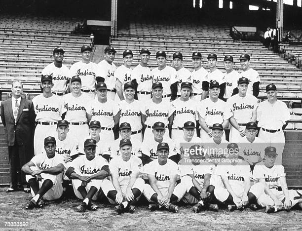 The American League Champion Cleveland Indians pose for their team photograph in 1954 Larry Doby and Early Wynn are in the back row far left and...