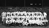 The American League Champion New York Yankees Baseball Club appears in Yankee Stadium in an official team photograph for the season of 1927 Hall of...