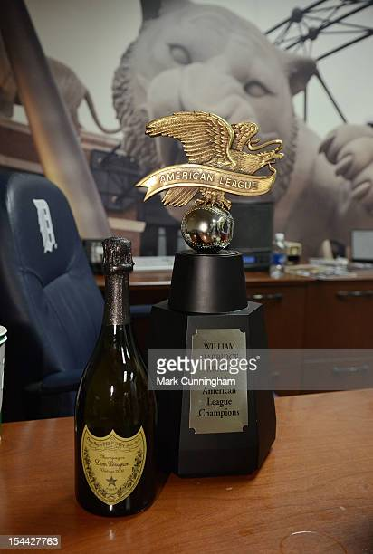 The American League Championship trophy sits on manager Jim Leyland of the Detroit Tigers desk after the victory against the New York Yankees in Game...