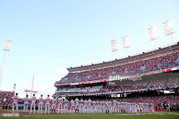 The American Leauge AllStars stand on the third baseline during player introductions prior to the 86th MLB AllStar Game at the Great American Ball...