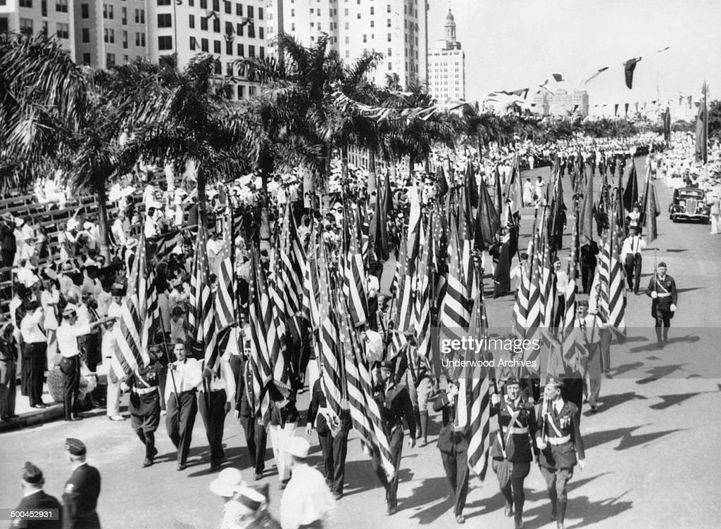 The American Legion parade during their annual convention with 70000 Legionnaires in attendance Miami Florida October 29 1934
