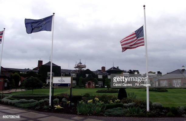 The American national flag hangs at half mast at the Belfry hotel and golf course near Sutton Coldfield West Midlands The Ryder Cup golf tournament...