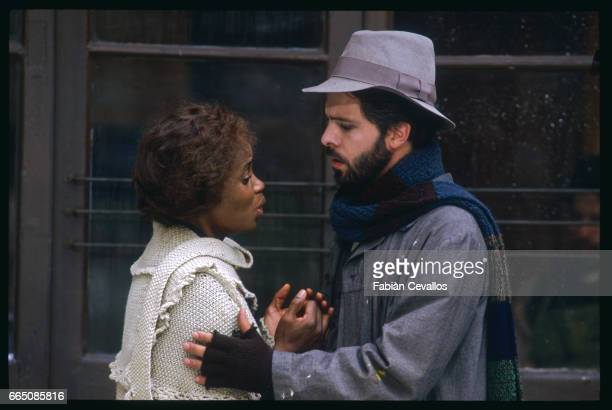 The American opera singer Barbara Hendricks and Canadian opera singer Gino Quilico face each other during the shooting of the musical La Boheme based...