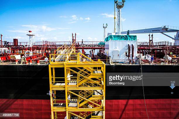 The American Petroleum Tankers' Lone Star State ship sits docked while under construction at the General Dynamics NASSCO shipyard in San Diego...