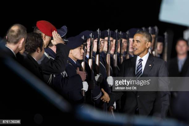 The American President Barack Obama lands shortly before 18 clock on 16 November 2016 with his Air Force One on the military part of the airport...
