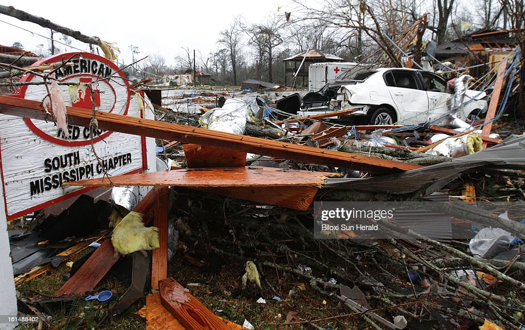 The American Red Cross on Hutchinson Avenue in Hattiesburg, Mississippi, was heavily damaged by a tornado on Sunday, February 10, 2013. An EF-4 tornado hit the area according to a preliminary report from the National Weather Service in Jackson. Sixty-three people were injured in the storm.