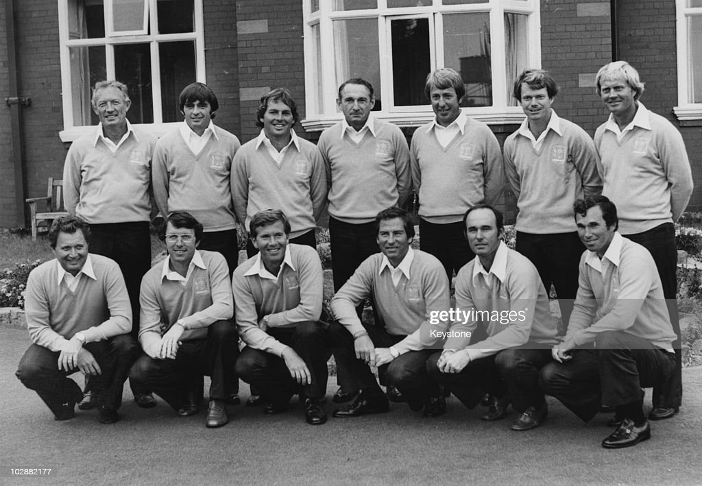 The American Ryder Cup team, 15th September 1977. From left to right, (back row) Don January, Dave Hill, Lanny Wadkins, Dow Finsterwald (non-playing captain), Jerry McGee, Tom Watson, Jack Nicklaus; (front row) Raymond Floyd, Hale Irwin, Ed Sneed, Dave Stockton, Lou Graham and Hubert Green.