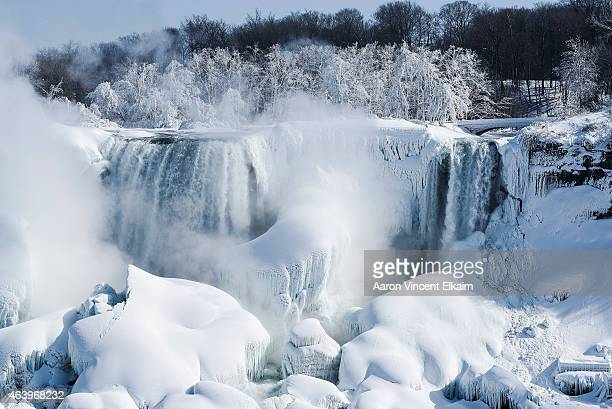 The American side of the Niagara Falls are almost completely frozen after a prolonged period of extreme cold on February 20 2015 in Niagara...