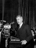 The American statesman Henry Agard Wallace VicePresident to Franklin Delano Roosevelt addresses the 12th annual Herald Tribune Forum at the...