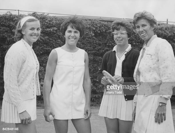The American Wightman Cup team at Wimbledon London with their coach tennis player Doris Hart 9th June 1966 From left to right MaryAnn Eisel Janie...