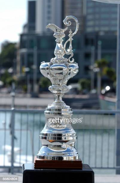 The America's Cup Trophy on display at the announcement that the Government was commiting another 3 million to help the hosting of The America's Cup...