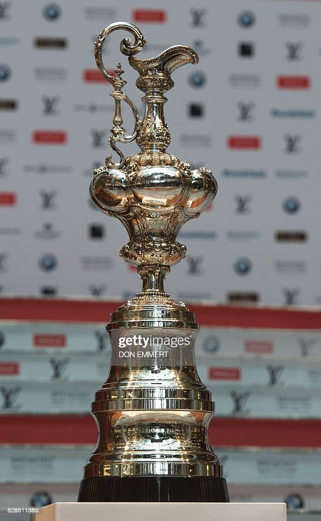 The America's Cup Trophy, the oldest international sporting trophy, is displayed at the Skippers news conference for the Louis Vuitton America's Cup World Series New York on May 5, 2016 in New York. / AFP / DON