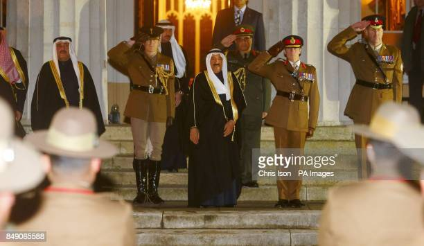 The Amir of the State of Kuwait His Highness Sheikh Sabah AlAhmad AlJaber AlSabah takes the salute during a visit to The Royal Military Academy...