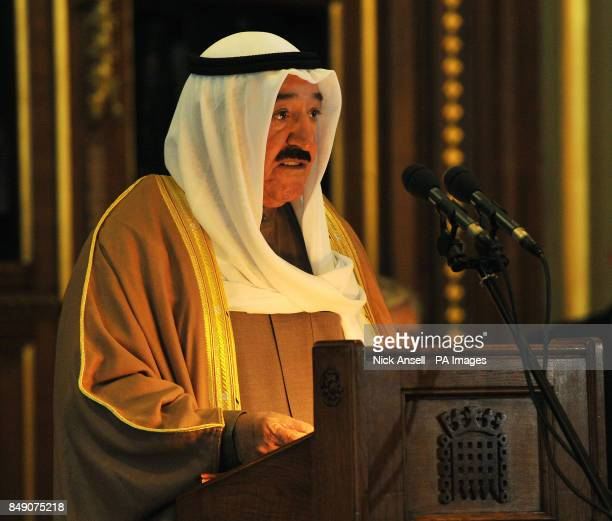 The Amir of the State of Kuwait His Highness Sheikh Sabah AlAhmad AlJaber AlSabah speaks in the Royal Robing Room during a visit to the Palace of...