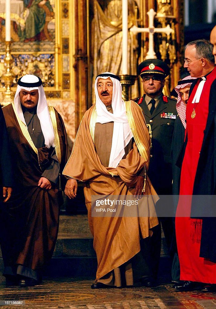 The Amir of the State of Kuwait visits Westminster Abbey to lay a wreath at the grave of the Unknown Warrior on November 29, 2012 in Windsor, England. The Amir has been on a three day State visit to the United Kingdom.