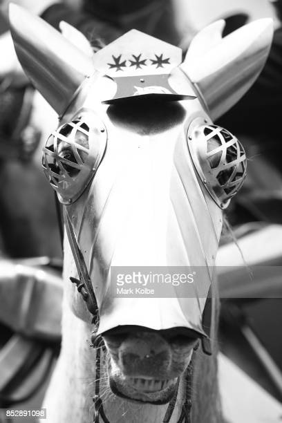 The amoured mount of Cliff Marisma of Australia is seen as he prepares to compete in the inaugural World Jousting Championship at the St Ives...