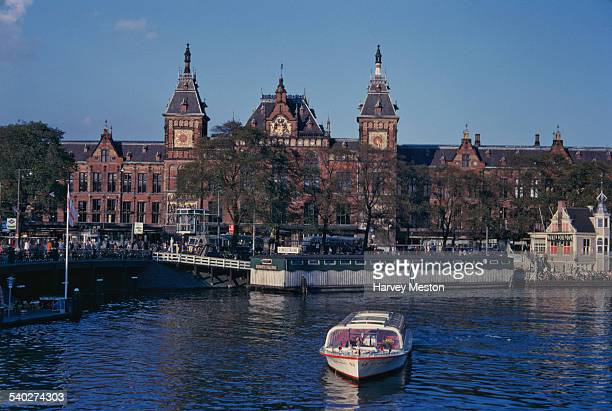 The Amsterdam Centraal railway station in Amsterdam capital of the Netherlands circa 1965