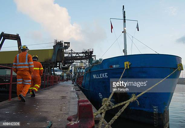 The Amsterdam registered 'Willeke' is loaded with Potash product at the potash facility at Tees Docks on November 20 2014 in Tees Docks United...
