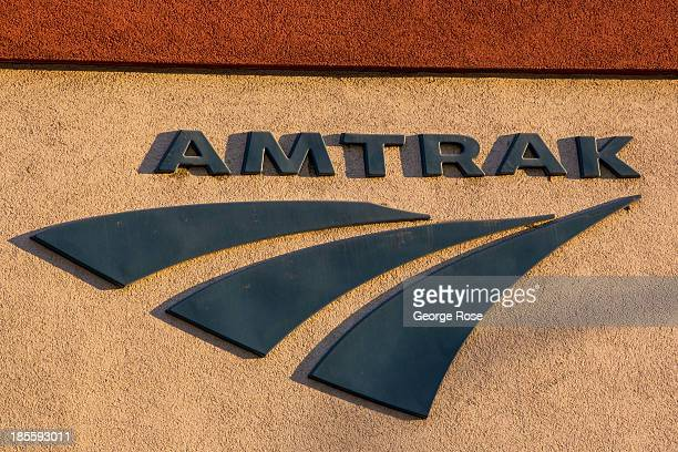 The Amtrak logo is shown at sunrise on September 14 in Reno Nevada Reno located in the northwest corner of Nevada continues to struggle from the...