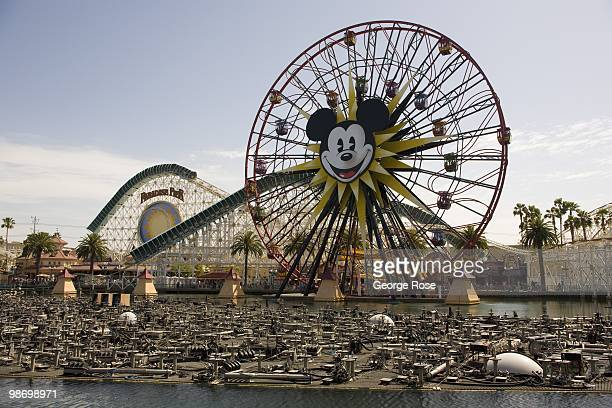 The amusement park and 'Mickey's Fun Wheel' at Paradise Pier in Disney's California Adventure is viewed in this 2010 Anaheim California spring...