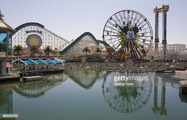 The amusement park at Paradise Pier with 'California Screamin'' roller coaster and 'Mickey's Fun Wheel' in Disney's California Adventure are viewed...