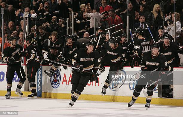 The Anaheim Ducks bench clears after defeating the Calgary Flames in overtime 3 to 2 during the game on February 11 2009 at Honda Center in Anaheim...