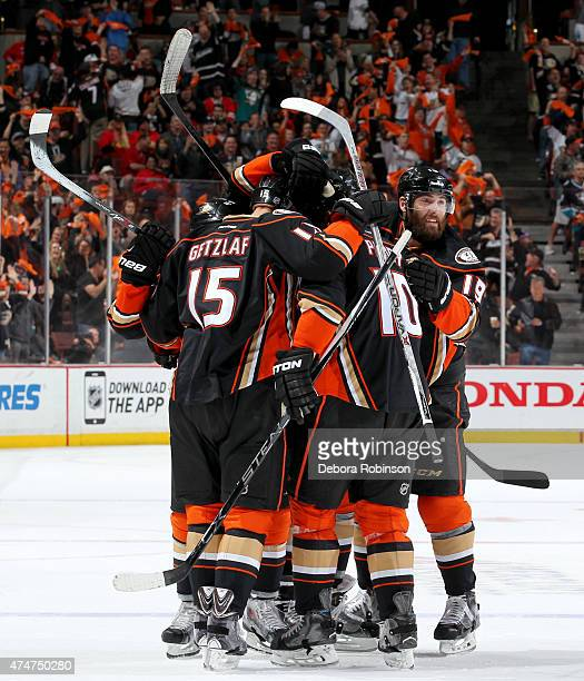 The Anaheim Ducks celebrate a first period goal against the Chicago Blackhawks in Game Five of the Western Conference Finals during the 2015 NHL...