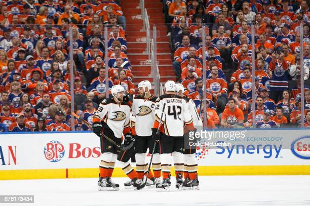 The Anaheim Ducks celebrate a goal against the Edmonton Oilers in Game Four of the Western Conference Second Round during the 2017 NHL Stanley Cup...