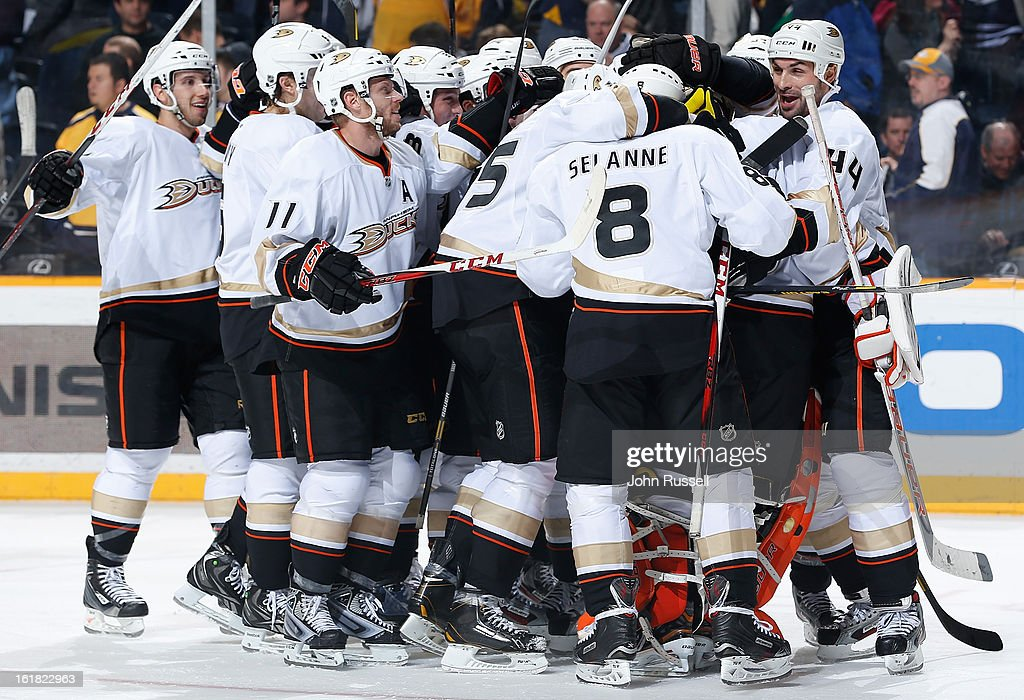 The Anaheim Ducks celebrate a shootout win against the Nashville Predators during an NHL game at the Bridgestone Arena on February 16, 2013 in Nashville, Tennessee.