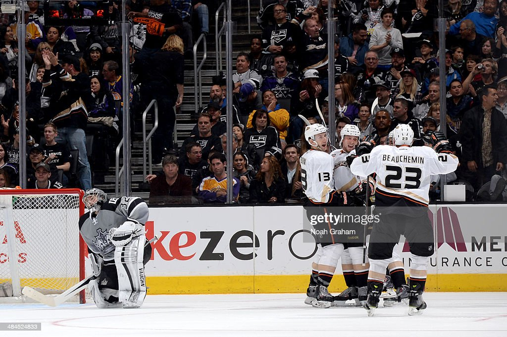 The Anaheim Ducks celebrate after a goal against the Los Angeles Kings at Staples Center on April 12, 2014 in Los Angeles, California.