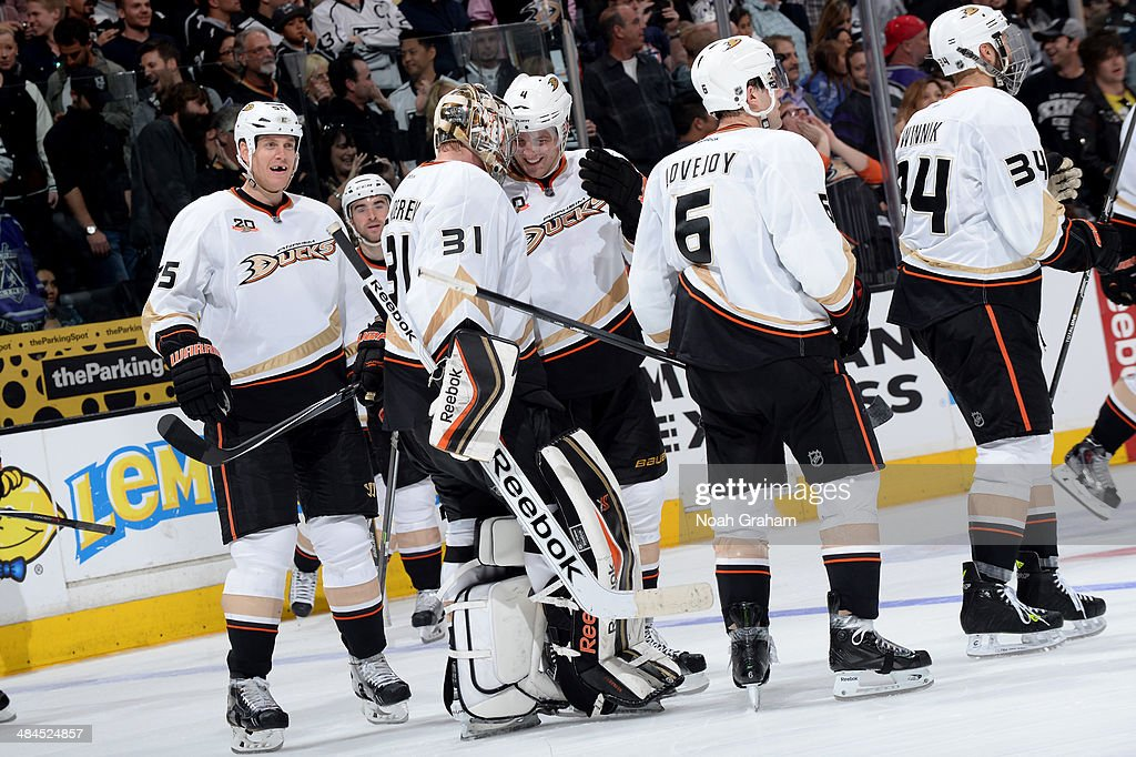 The Anaheim Ducks celebrate after defeating the Los Angeles Kings at Staples Center on April 12, 2014 in Los Angeles, California.