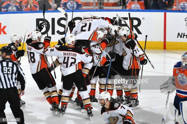 The Anaheim Ducks celebrate after winning Game Four of the Western Conference Second Round during the 2017 NHL Stanley Cup Playoffs against the...
