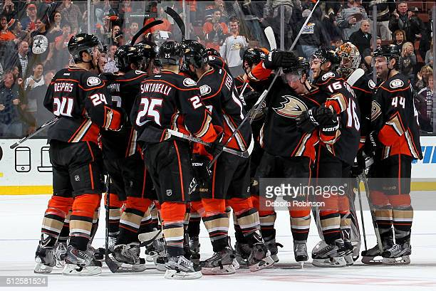The Anaheim Ducks celebrate their 21 win in overtime against the Edmonton Oilers on February 26 2016 at Honda Center in Anaheim California