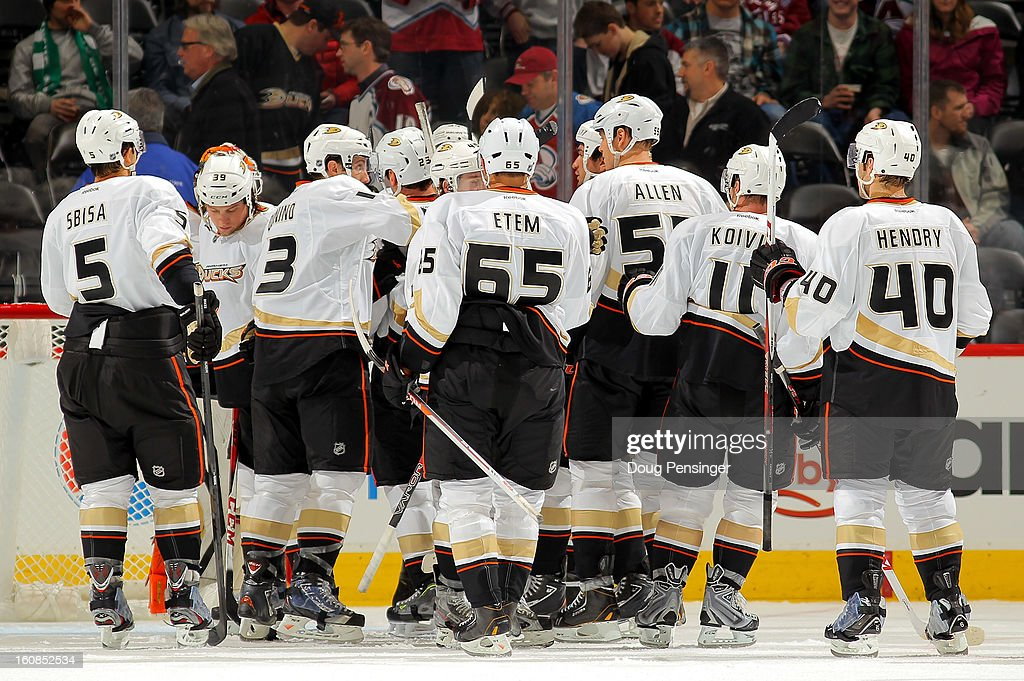 The Anaheim Ducks celebrate their 3-0 win over the Colorado Avalanche at the Pepsi Center on February 6, 2013 in Denver, Colorado.
