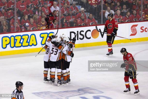The Anaheim Ducks celebrate their first period goal during game 4 of the first round of the Stanley Cup Playoffs between the Anaheim Ducks and the...
