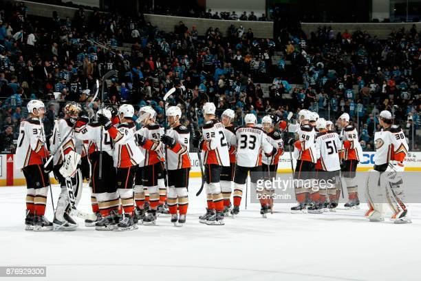 The Anaheim Ducks celebrate their win over the San Jose Sharks at SAP Center on November 20 2017 in San Jose California The Ducks defeated the Sharks...