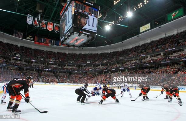 The Anaheim Ducks face off against the Edmonton Oilers during the game on March 22 2017 at Honda Center in Anaheim California