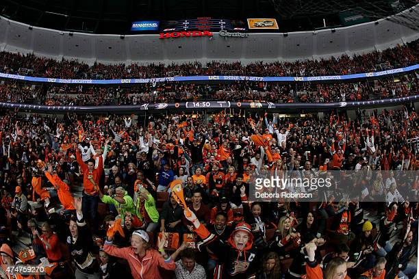 The Anaheim Ducks' fans celebrate the Ducks' 54 overtime win against the Chicago Blackhawks in Game Five of the Western Conference Finals during the...