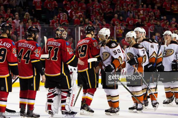 The Anaheim Ducks move on to the second round of the NHL Stanley Cup playoffs sweeping the Calgary Flames in 4 As is customary in the NHL the teams...