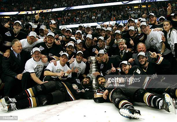 The Anaheim Ducks pose with the Stanley Cup after their 62 victory over the Ottawa Senators in Game Five of the n June 6 2007 at Honda Center in...