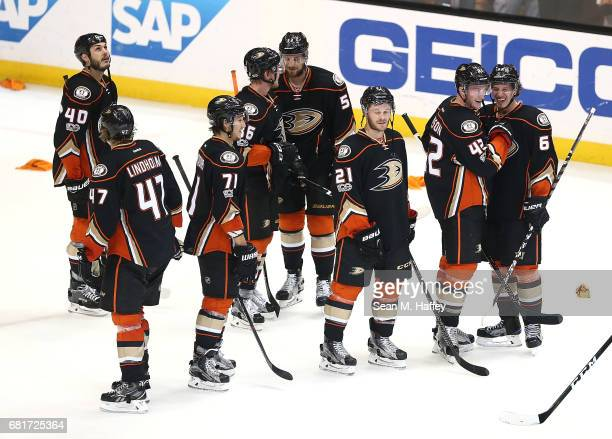 The Anaheim Ducks react after their 21 win over the Edmonton Oilers in Game Seven of the Western Conference Second Round during the 2017 NHL Stanley...