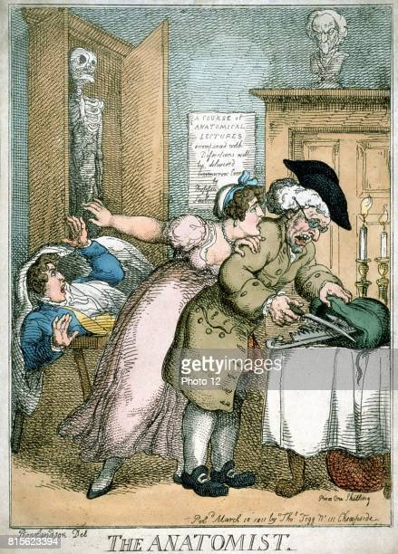 'The Anatomist' cartoon by Rowlandson published 1811 showing terror of patient and wife as surgeon opens bag of instruments They have seen poster on...