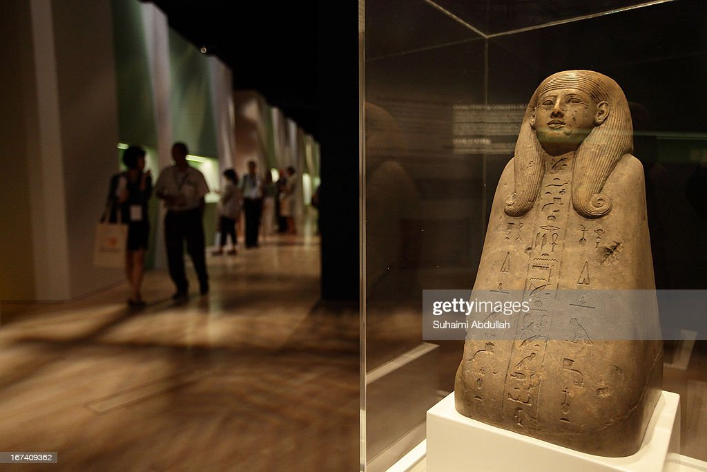 The Ancestral Bust of Muteminet exhibit is seen during a media preview of the Mummy: Secrets of the Tomb exhibition at ArtScience Museum on April 25, 2013 in Singapore. The exhibition includes more than 100 artifacts and six mummies from the heralded ancient Egyptian collection of the British Museum. Among the mummies displayed is the Egyptian temple priest, Nesperennub who lived 3,000 years ago. The exhibition will run from April 27 till November 4, 2013.