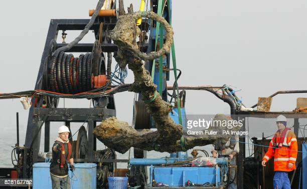The anchor from King Henry VIII's flagship the Mary Rose which foundered in the Solent off Portsmouth in 1545 is lifted out of the sea Tuesday...