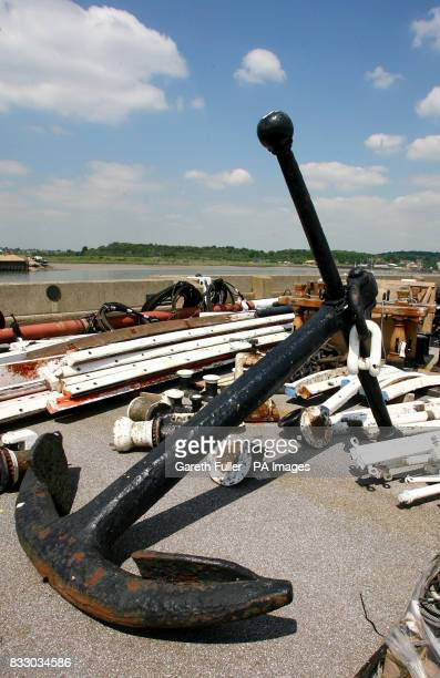 The anchor of the Cutty Sark at the Historic Dockyard in Chatham Kent where it is stored