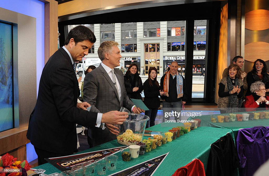 AMERICA - The anchors prepare a superbowl party dip on 'Good Morning America,' 1/31/13, airing on the ABC Television Network. (Photo by Donna Svennevik/ABC via Getty Images) JOSH